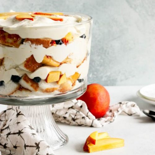 Nectarine and blueberry trifle