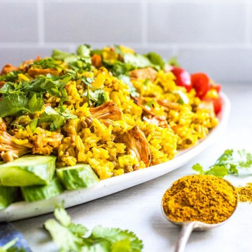 Vegan kedgeree with jackfruit