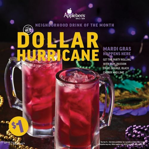 Celebrate Mardi Gras Across America at Applebee's with the DOLLAR HURRICANE