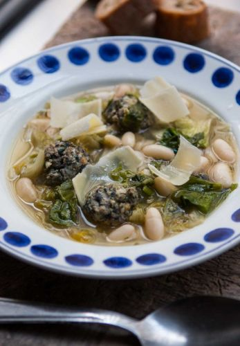 Escarole Soup with Beans and Meatballs