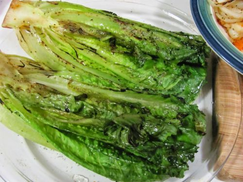 Grilled Romaine and Shrimp Salad with Roasted Garlic Caesar Dressing