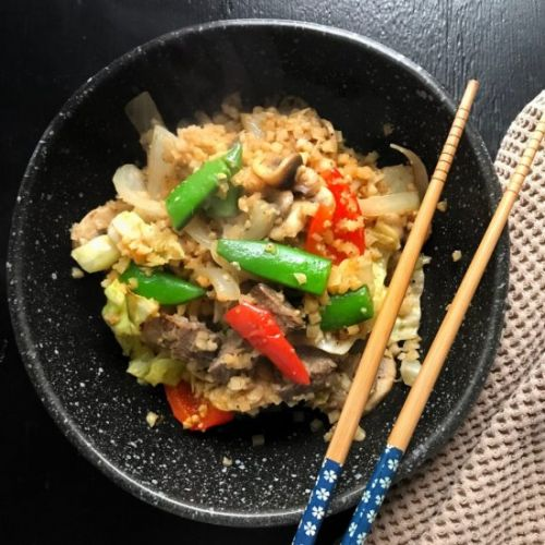 Riced Cauliflower Steak Stir Fry