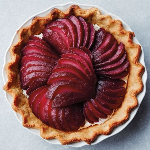 Poached-Pear Pie with Rosemary Shortbread Crust