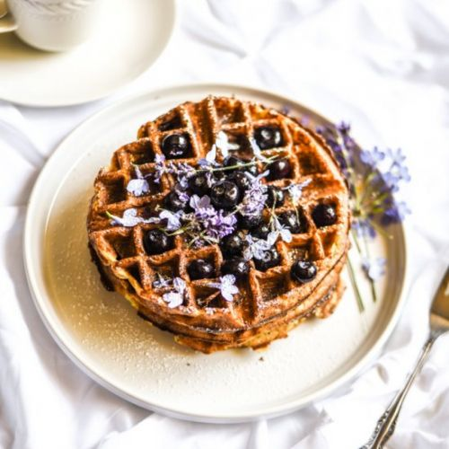 Blueberry Lavender Protein Waffles