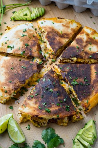 Chipotle Bacon and Egg Quesadillas