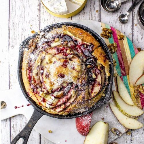 Pear & Brie Dutch Baby + Wine Syrup