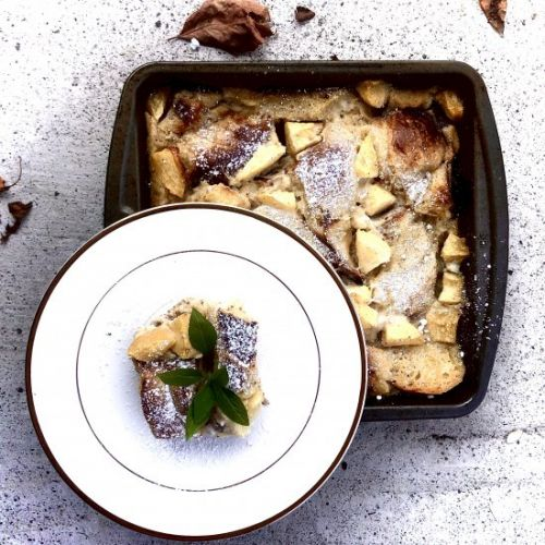 Challah Bread Pudding with Apples