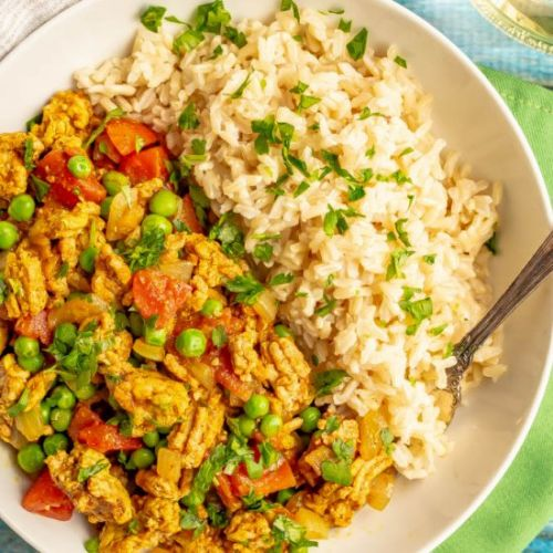 Curry ground turkey with rice