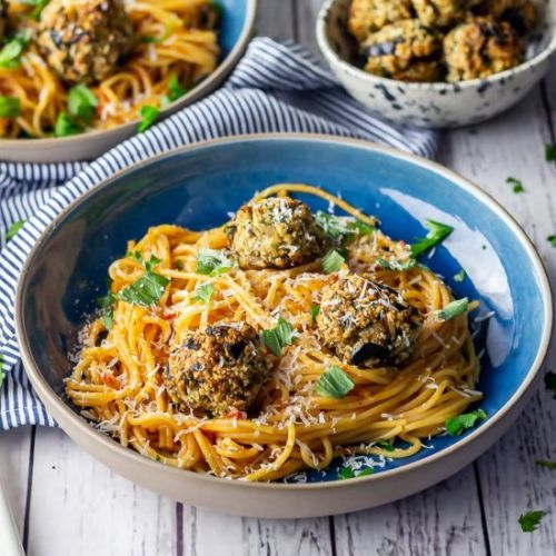 Vegetarian Spaghetti and Meatballs