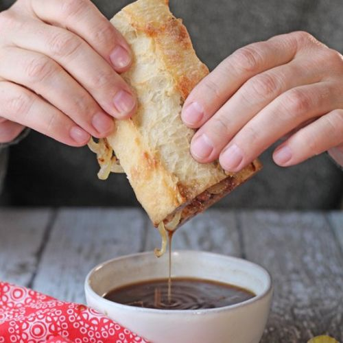 Vegan French dip sandwich
