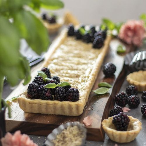 Blackberry Basil Cream Almond Tart