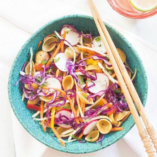 Mayo Free Spicy Coleslaw with Pasta
