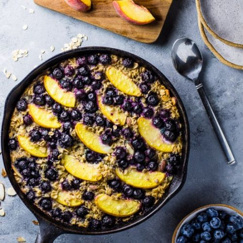 Blueberry Peach Baked Oatmeal