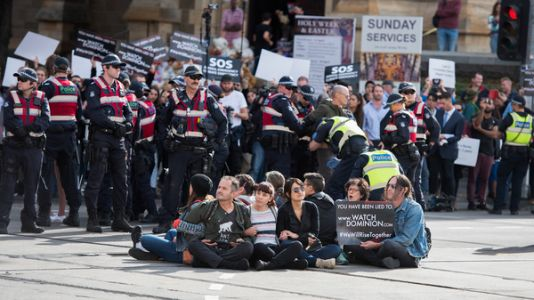 Vegan Protesters Block Downtown Melbourne In Coordinated Action Across Australia