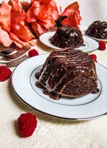 Vegan Chocolate Raspberry Lava Cakes
