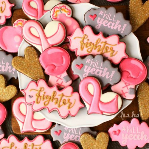How To Make Fight For a Cure Boxing Glove Decorated Cookies and Awareness Ribbon Template