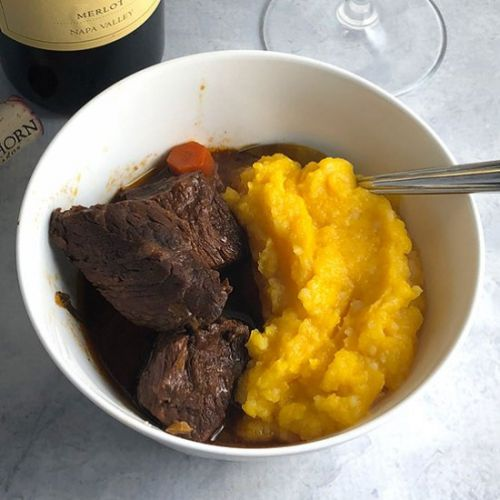 BBQ Beef Stew with Butternut Purée
