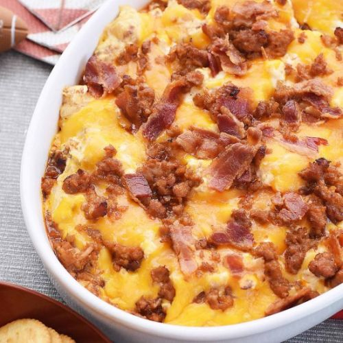 Spicy Sausage Dip w/ Bacon & Cheese