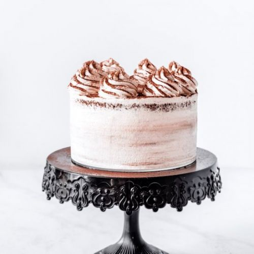 Chocolate layer cake whipped ganach