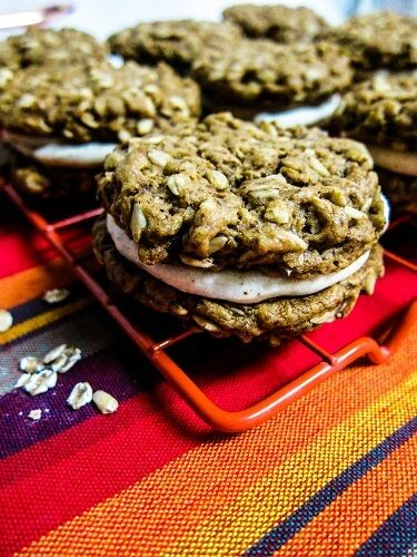 Vegan Almond Oatmeal Cookie Sandwiches with White Chocolate Cream