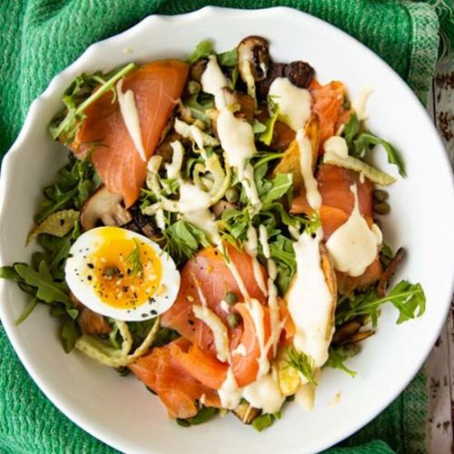 Salmon Benedict Breakfast Salad