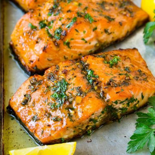 Baked Salmon with Garlic Butter