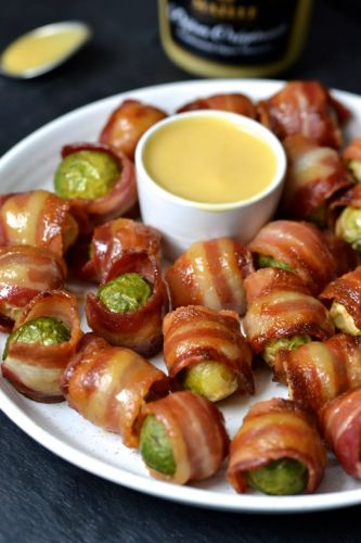 Honey Mustard-Glazed, Bacon-Wrapped Brussel Sprouts