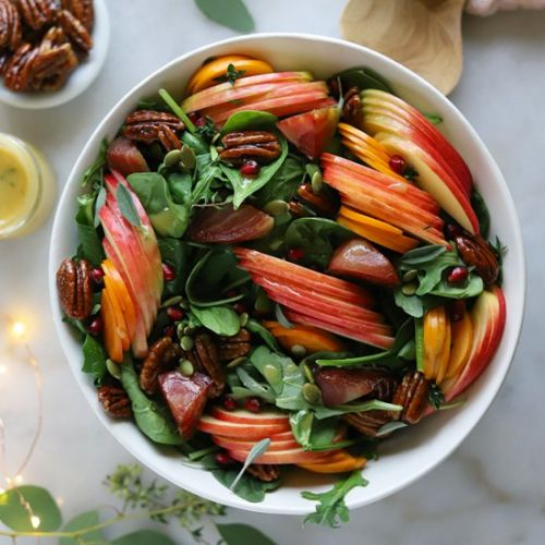 Spiced Pecan, Apple&Persimmon Salad