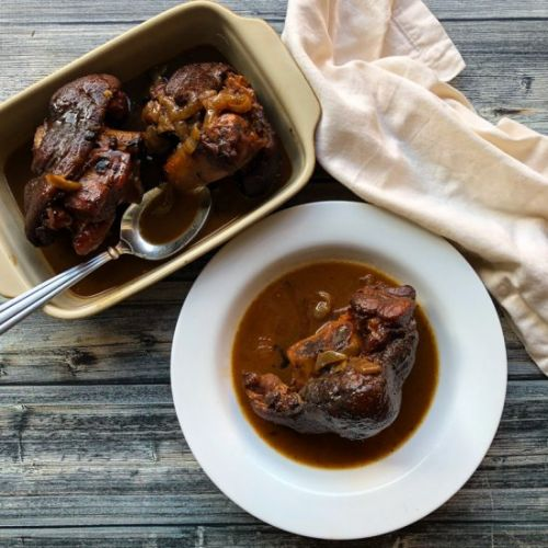 Braised Ham Hocks w/ Whiskey Glaze