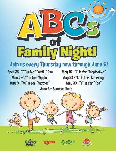 Ovation Brands and Furr's Fresh Buffet Celebrate the ABCs of Family Night, Starting April 25