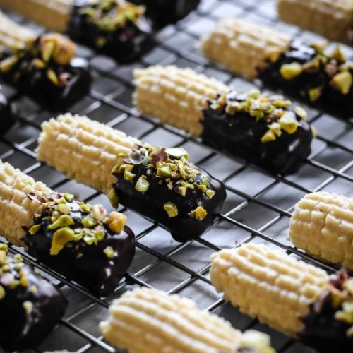 Chocolate Coated Spritz Cookies