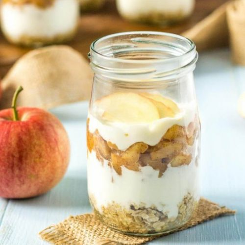 Apple Oat Cheesecake in Jars