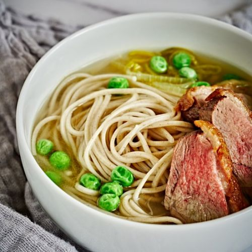 Duck & Leek Soba Noodles with Peas