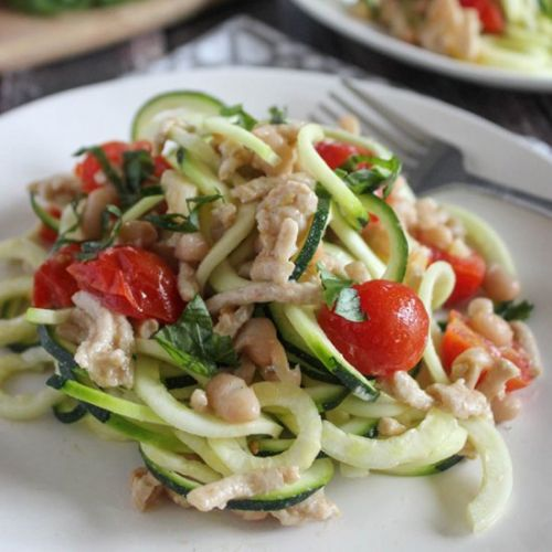 Zucchini Noodles with White Beans
