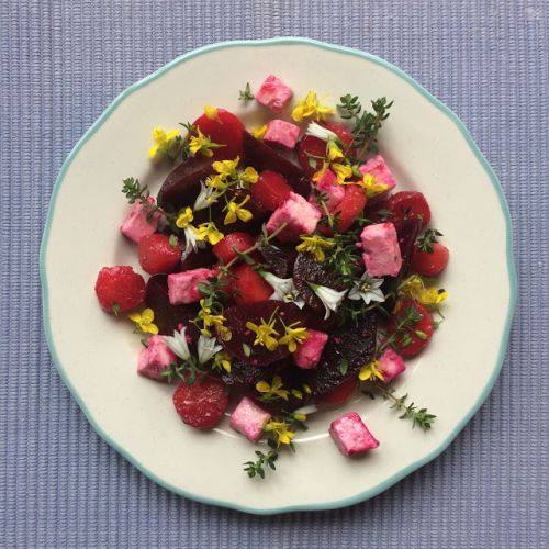 Oakune Carrot and Beetroot Salad with Feta, Thyme and Edible Flowers