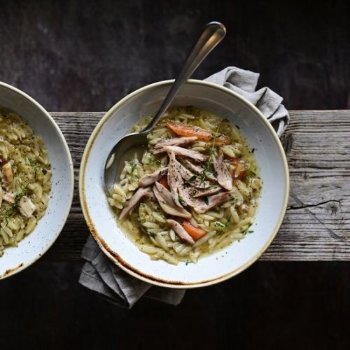 Herby chicken soup with orzo