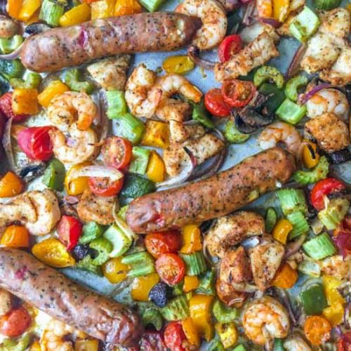 Cajun Shrimp & Chicken Sheet Pan