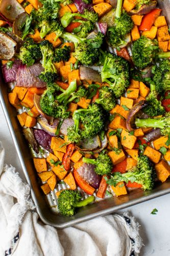 Warm Curry Roasted Sheet Pan Vegetable Salad
