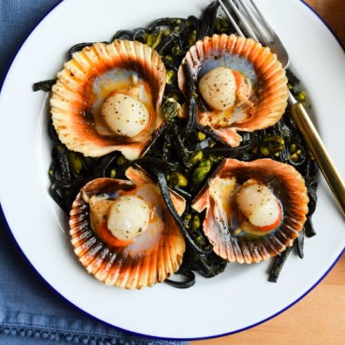 Scallops with Squid Ink Spaghetti
