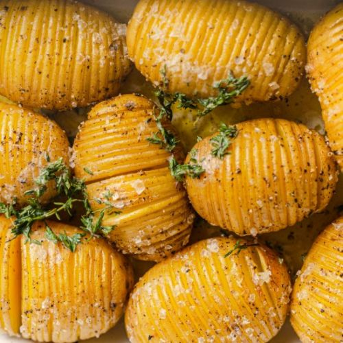 Hasselback Potatoes & Thyme Butter