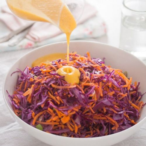 Red Cabbage Slaw and Peach Dressing