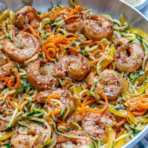 Asian Shrimp Zucchini Noodles