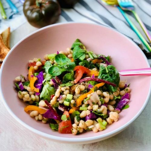 Haricot beans salad with yacon