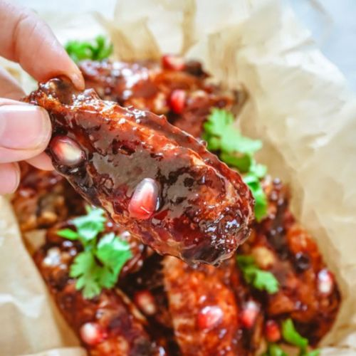 Pomegranate Glazed Chicken Wings