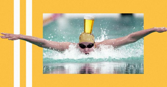 Olympic Athlete Swims 25 Meters With Full Beer Glass Balanced On Head