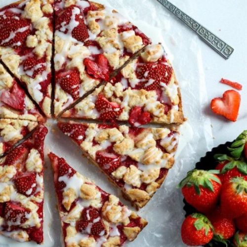 Roasted Strawberry Crumb Bars