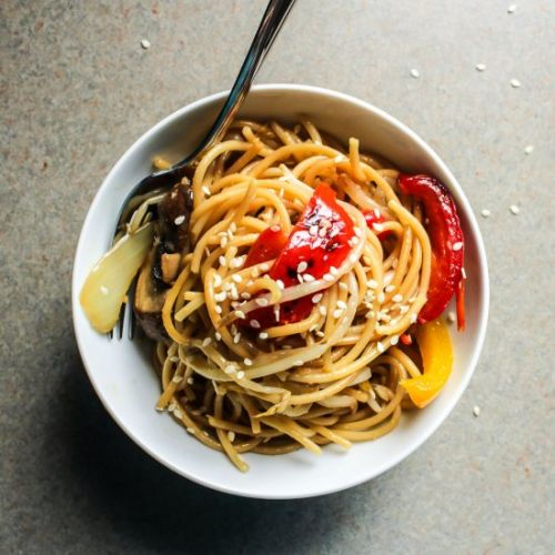 Sesame Garlic Noodles with Veggies