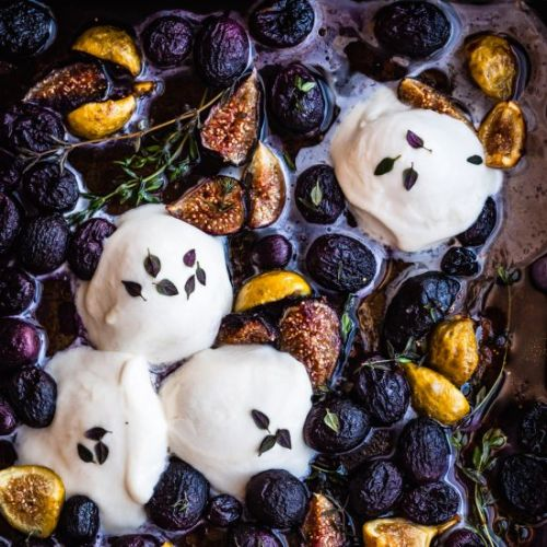 Roasted Grapes & Figs with Burrata