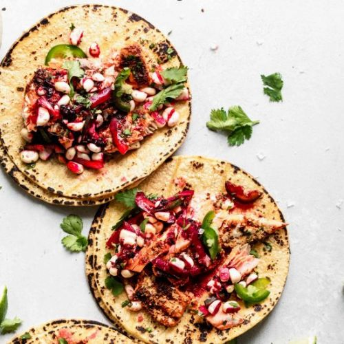 Salmon Tacos with Blackberry Relish