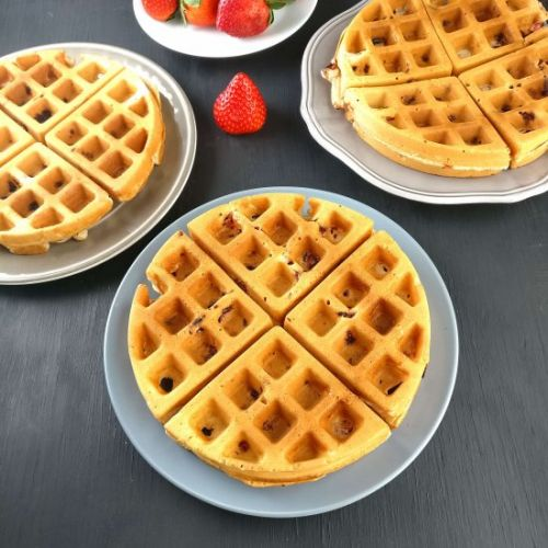 Eggless Strawberry Waffles Recipe